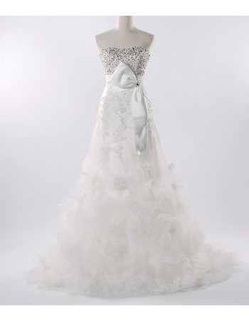 Fall Elegant A-Line Beaded Lace Tulle Wedding Dresses with Beaded Bodice