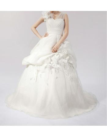 Romantic A-Line V-Neck Floral Satin Organza Bridal Wedding Dresses with 3D Floral Appliqué