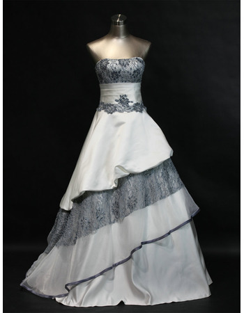 Discount A-Line Strapless Sequined Lace Satin Wedding Dresses with Layered Draped High-Low Skirt