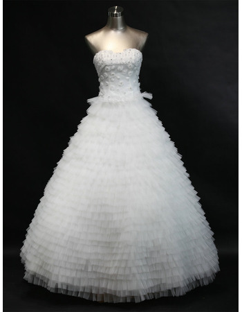 Romantic and Sophisticated Ball Gown Tiered Tulle Wedding Dresses with Crystal Detailing