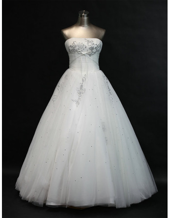 Inexpensive A-Line Strapless Long Church Bridal Wedding Dresses