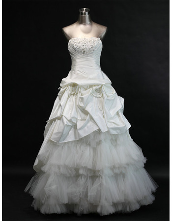 Elegant A-Line Strapless Long Taffeta Church Bridal Wedding Dresses