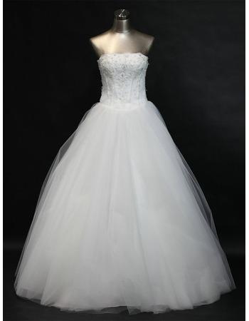 Elegant A-Line Strapless Beading Appliques Bodice Tulle Wedding Dresses