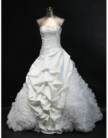 Stunning Ball Gown Strapless Pic-up Skrit Wedding Dresses with Beading Appliques