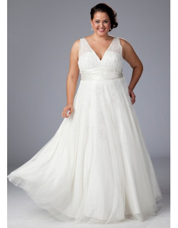 Elegant A-Line V-Neck Floor Length White Chiffon Plus Size Wedding ...