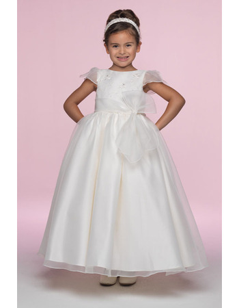 Pretty Custom A-Line Bateau Cap Sleeves Ankle Length Embroidery Organza Flower Girl/ First Communion Dresses with Embroidery and