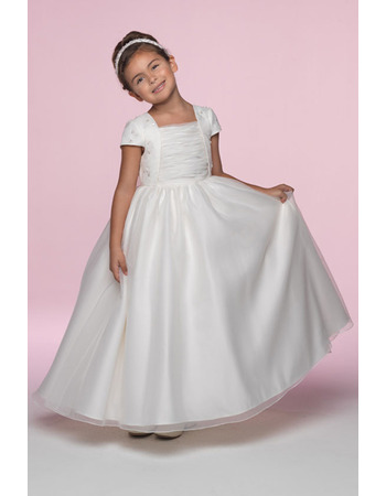 Princess Ball Gown Square Short Sleeves Embroidery Organza Flower Girl/ First Communion Dresses
