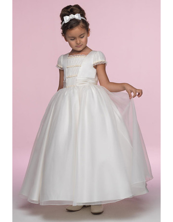 Princess Classic Ball Gown Square Cap Sleeves Ankle Length Ruffled Organza Flower Girl/ First Communion Dresses