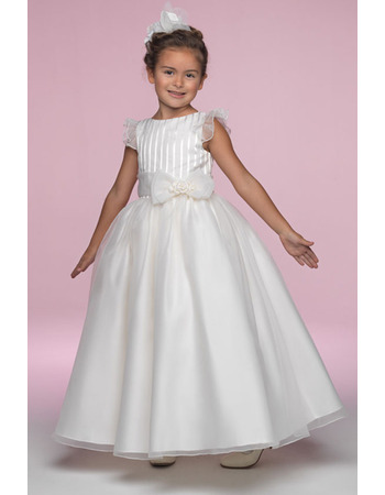 Affordable Pretty Ball Gown Bateau Ankle Length Ruffled Sleeves Organza Flower Girl/ First Communion Dresses