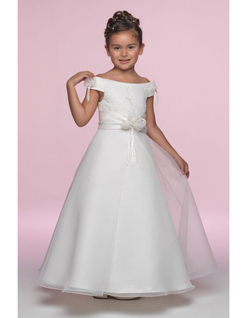 Custom Pretty A-Line Off-the-shoulder Cap Sleeves Ankle Length Satin Organza Embroidery Bow Flower Girl/ First Communion Dresses