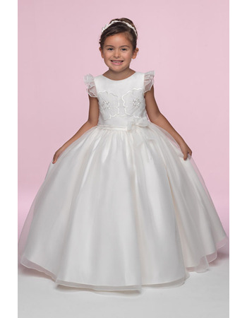 Inexpensive Pretty Ball Gown Full Length Ruffled Sleeves Embroidery Organza Flower Girl/ First Communion Dresses