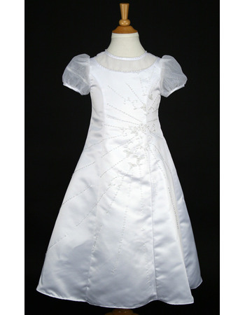 Gorgeous Crew Neck White Satin First Communion Flower Girl Dresses with Beading Embroidered and Short Sleeves