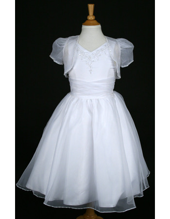 Discount Princess Ball Gown V-Neck Full Length Organza White First Communion Dresses with Jackets and Baded Appliques
