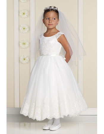 Discount A-Line Round Ankle Length Applique Tulle Flower Girl/ First Communion Dresses