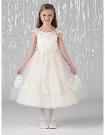 Pretty A-Line Round Neckline Tea Length First Communion Dresses with Beading Appliques