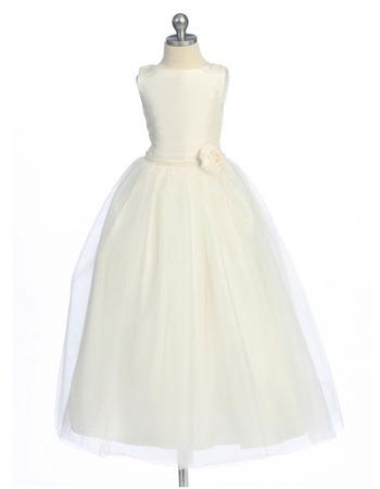 Affordable Simple A-Line Round Neckline Tea Length Taffeta Tulle First Communion Flower Girl Dresses