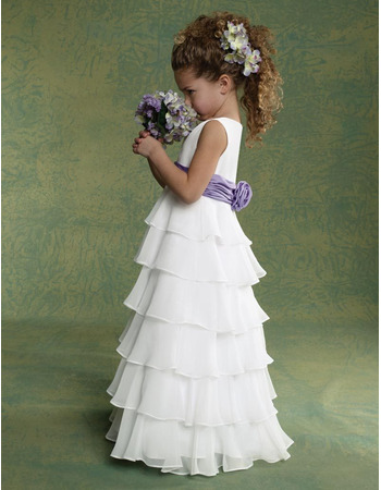 Beautiful A-Line Bateau Floor Length Layered Skirt Chiffon Flower Girl Dresses with 3D Flower