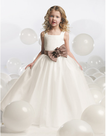 Sweety Ball Gown Square Neck Floor Length Satin Bow Plus ...