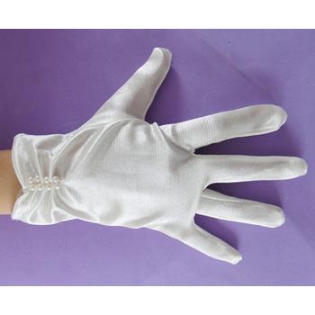 Short Wrist Elastic Satin Flower Girl/ First Communion Gloves with Beads