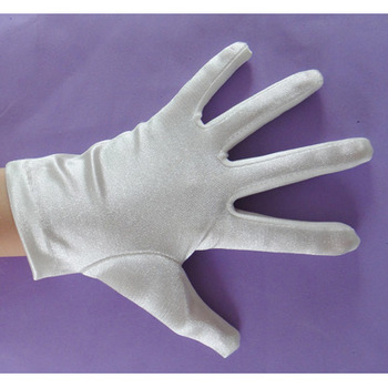 Short Simple Wrist Elastic Satin Flower Girl/ First Communion Gloves