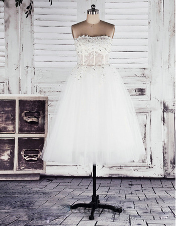 Sexy Crystal Beading Strapless Tulle Reception Wedding Dresses with Dramatic Illusion Back