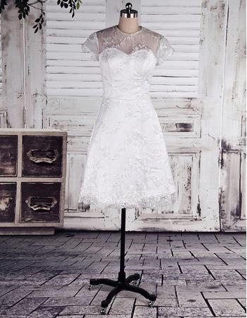 Elegant Illusion Tulle Neckline Lace Reception Wedding Dresses with Short Sleeves