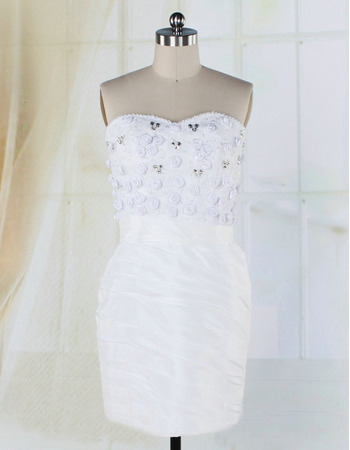 Petite Sweetheart Beaded Appliques Taffeta Short Wedding Dresses with All Over Ruched Stretch
