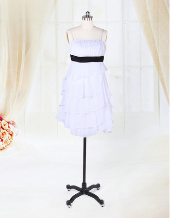 Little Spaghetti Straps Tiered Skirt Chiffon Short Reception Wedding Dresses