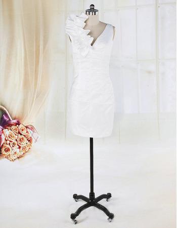 Discount Petite Column Asymmetrical Ruffled Neckline Reception Wedding Dresses