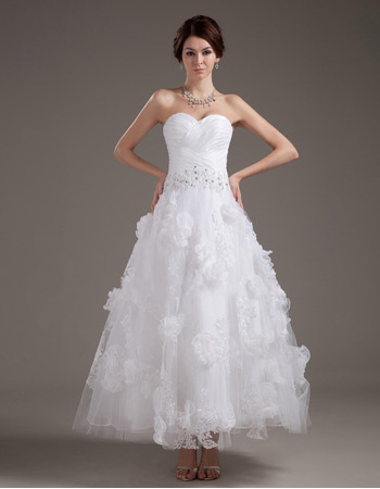 Romantic A-Line Pleated Bust Ankle Length Tulle Wedding Dresses with Floral Appliques Skirt