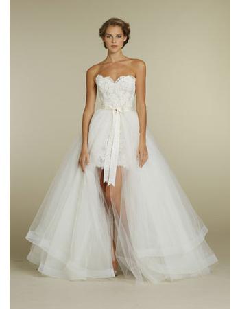 Modern Sheath Sweetheart Pleated Layered Tulle High-Low Wedding ...