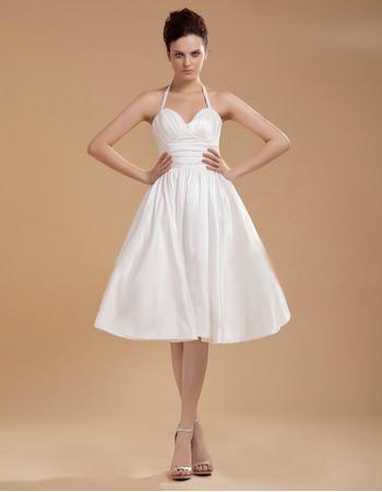 Simple Informal Halter Knee Length Ruched Taffeta Reception Wedding Dresses