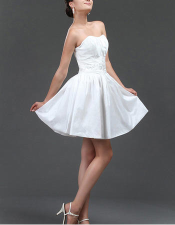 Affordable A-Line Pleated Taffeta Short Reception Wedding Dresses with Beading Appliques Waist