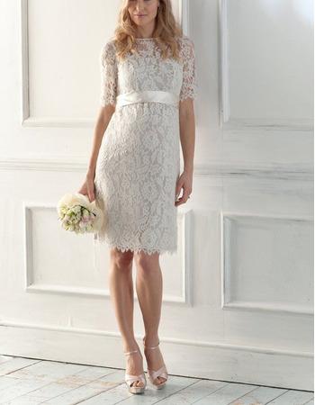 Elegant Sheath/Column Knee Length Reception Lace Wedding Dresses with Short Sleeves