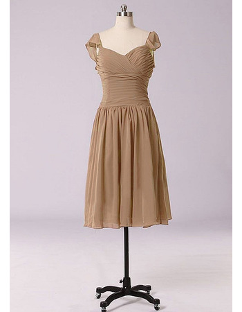 Beautiful Sweetheart Knee Length Pleated Chiffon Bridesmaid Dresses for Wedding Party