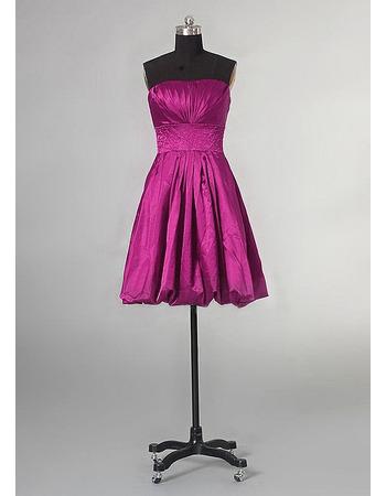 Elegant A-Line Strapless Lace-up Knee Length Taffeta Bridesmaid Dresses for Wedding Party