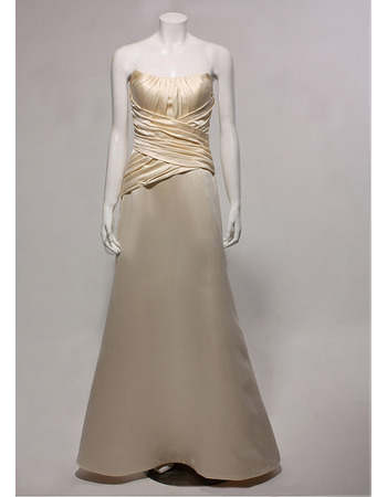 Elegant A-Line Lace-up Long Satin Bridesmaid Dresses for Wedding Party with Ruched