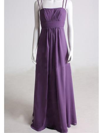 Elegant A-Line Spaghetti Straps Long Pleat Chiffon Bridesmaid Dresses for Wedding Party