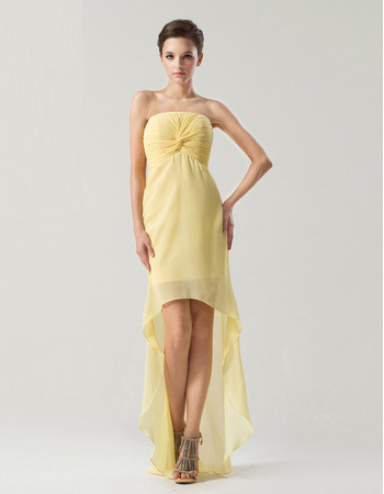Chic Sheath/ Column Strapless High-Low Chiffon Bridesmaid Dresses