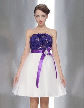 Spring/Summer A-Line Strapless Mini/Short Empire Satin Tulle Bridesmaid Dresses with Belts and Sequined