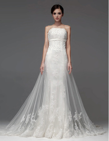 Inexpensive Sheath/ Column Strapless Floor Length Satin Organza Wedding Dresses
