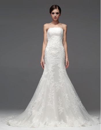 Elegant Mermaid/ Trumpet Strapless Floor Length Satin Organza Wedding Dresses