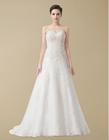 Newest A-Line Sweetheart Floor Length Satin Organza Wedding Dresses For Winter
