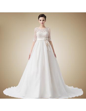Designer Empire Sweetheart Floor Length Satin Organza Wedding Dresses with Jackets