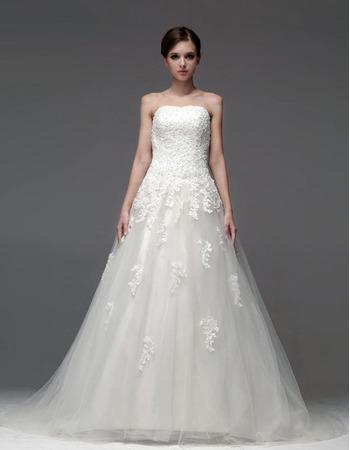 Gorgeous A-Line Strapless Floor Length Satin Organza Empire Wedding Dresses