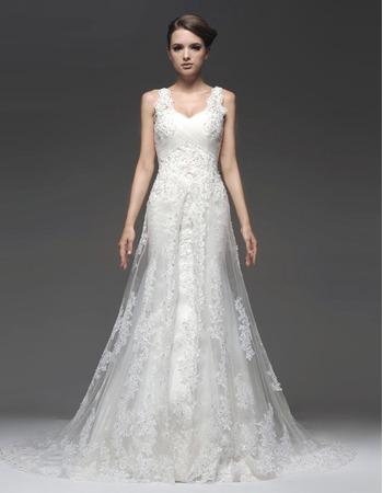 Newest Sheath/ Column Sweetheart Straps Floor Length Satin Organza Wedding Dresses