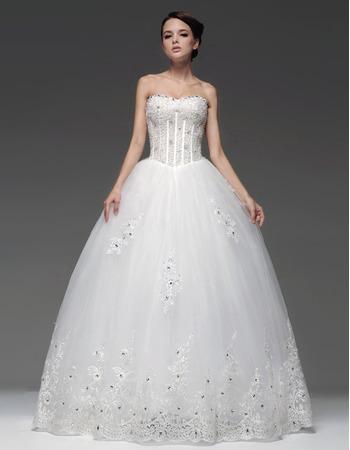 Gorgeous Ball Gown Sweetheart Floor Length Satin Organza Wedding Dresses