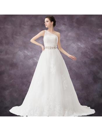 Winter Vintage A-Line One Shoulder Floor Length Satin Organza Wedding Dresses