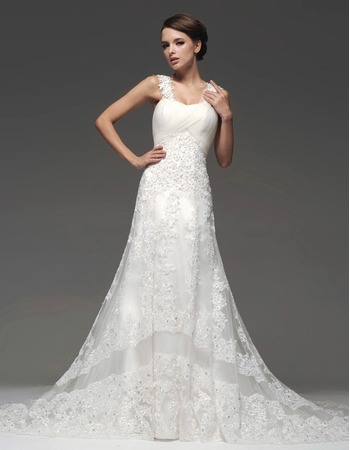 Stylish A-Line Straps Floor Length Organza Satin Wedding Dresses