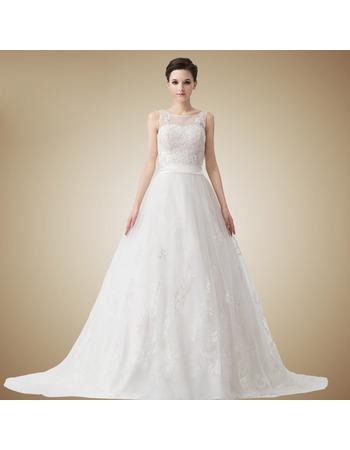 Fahionable Vintage A-Line Bateau Floor Length Organza Satin Wedding Dresses
